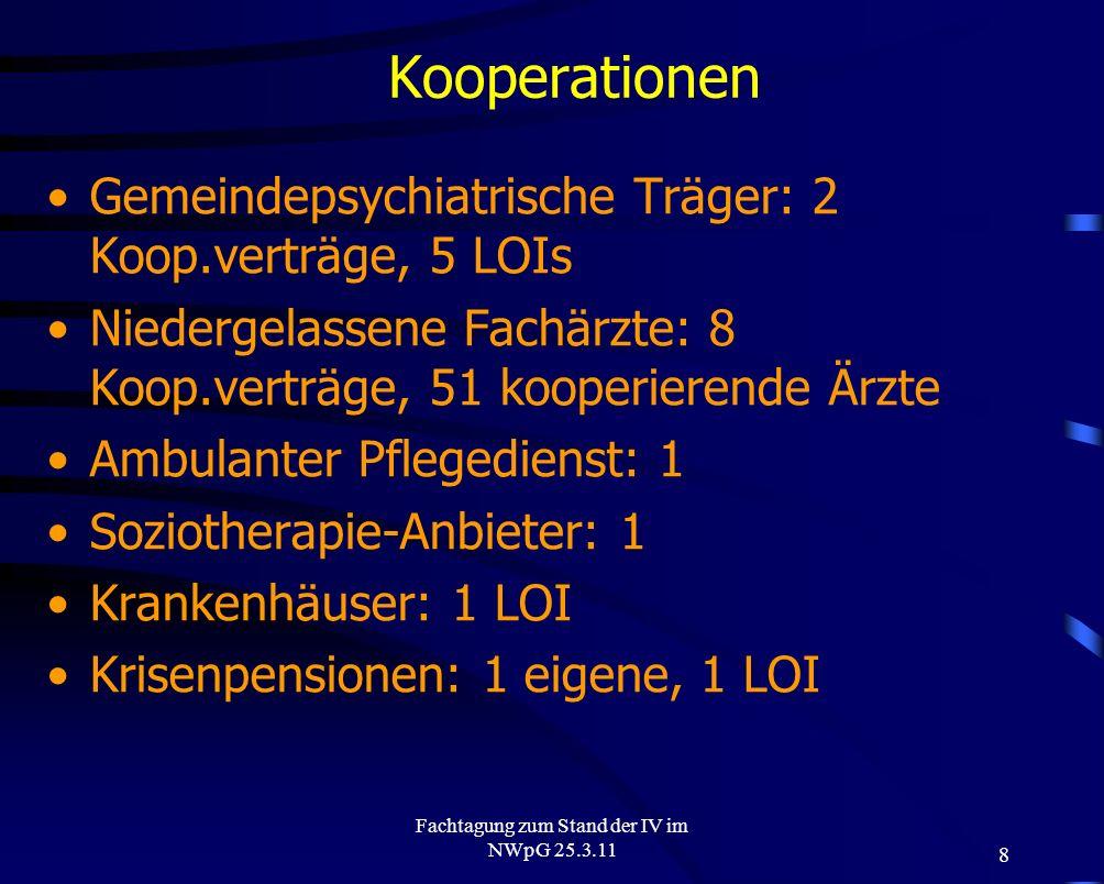 8 Fachtagung zum Stand der IV im NWpG 25.3.11 Kooperationen Gemeindepsychiatrische Träger: 2 Koop.verträge, 5 LOIs Niedergelassene Fachärzte: 8 Koop.v