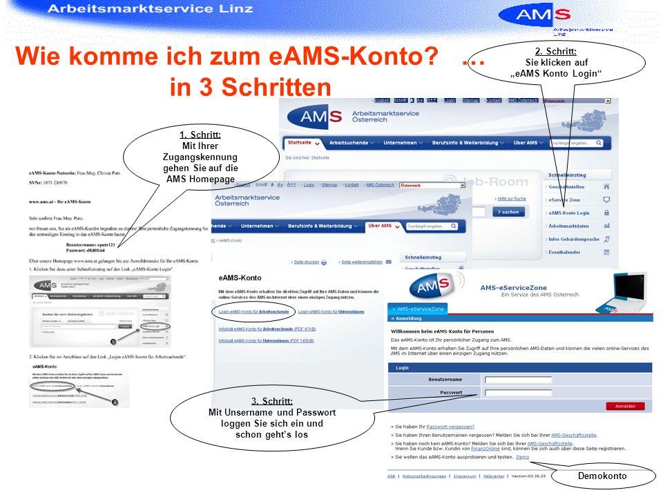 Wie komme ich zum eAMS-Konto? … in 3 Schritten 2. Schritt: Sie klicken auf eAMS Konto Login Demokonto 1. Schritt: Mit Ihrer Zugangskennung gehen Sie a