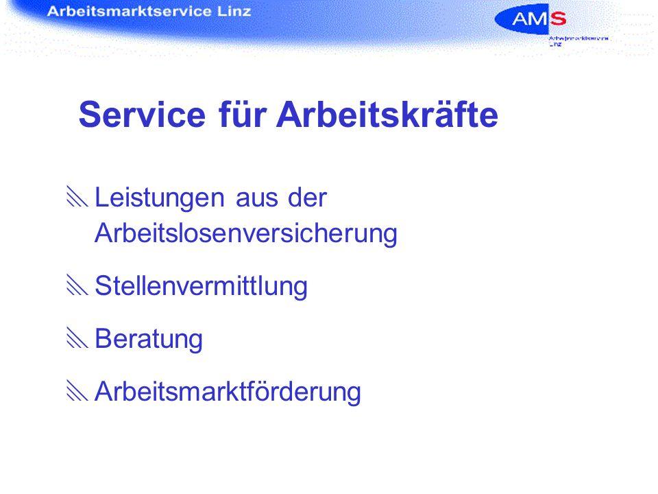 Service für Arbeitskräfte Leistungen aus der Arbeitslosenversicherung Stellenvermittlung Beratung Arbeitsmarktförderung