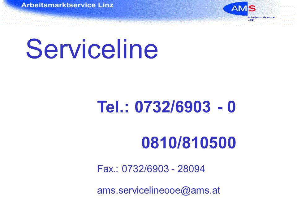 Serviceline Tel.: 0732/6903 - 0 0810/810500 Fax.: 0732/6903 - 28094 ams.servicelineooe@ams.at