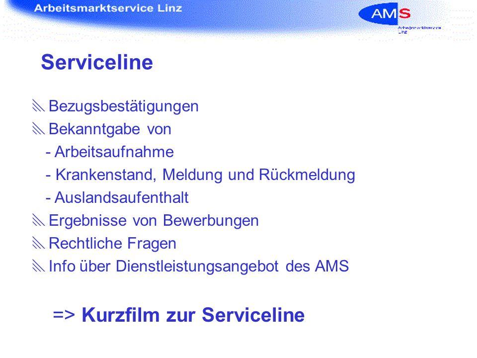 Serviceline Bezugsbestätigungen Bekanntgabe von - Arbeitsaufnahme - Krankenstand, Meldung und Rückmeldung - Auslandsaufenthalt Ergebnisse von Bewerbun