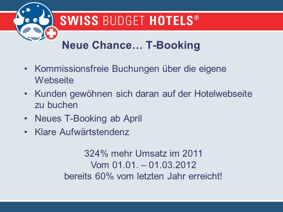 Neue Chance… T-Booking Kommissionsfreie Buchungen über die eigene Webseite Kunden gewöhnen sich daran auf der Hotelwebseite zu buchen Neues T-Booking ab April Klare Aufwärtstendenz 324% mehr Umsatz im 2011 Vom 01.01.