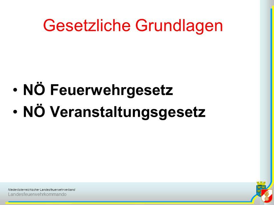 Niederösterreichischer Landesfeuerwehrverband Landesfeuerwehrkommando Gesetzliche Grundlagen NÖ Feuerwehrgesetz NÖ Veranstaltungsgesetz