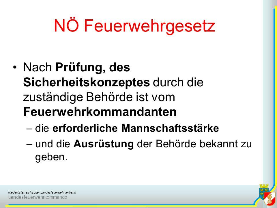 Niederösterreichischer Landesfeuerwehrverband Landesfeuerwehrkommando NÖ Feuerwehrgesetz Nach Prüfung, des Sicherheitskonzeptes durch die zuständige Behörde ist vom Feuerwehrkommandanten –die erforderliche Mannschaftsstärke –und die Ausrüstung der Behörde bekannt zu geben.