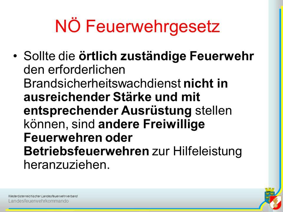 Niederösterreichischer Landesfeuerwehrverband Landesfeuerwehrkommando NÖ Feuerwehrgesetz Sollte die örtlich zuständige Feuerwehr den erforderlichen Br