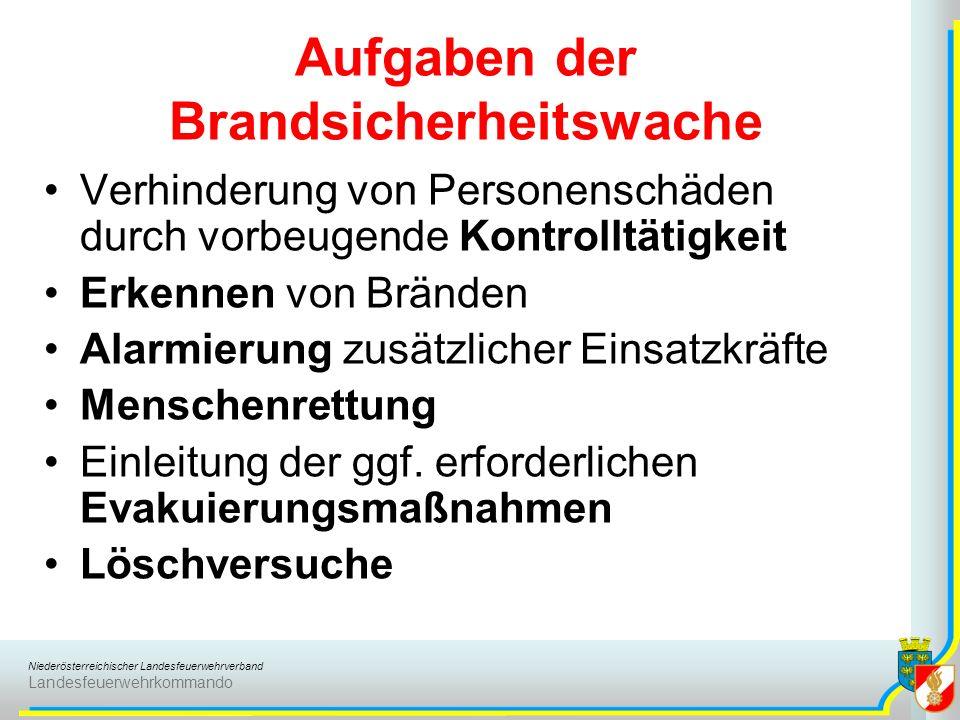 Niederösterreichischer Landesfeuerwehrverband Landesfeuerwehrkommando Aufgaben der Brandsicherheitswache Verhinderung von Personenschäden durch vorbeugende Kontrolltätigkeit Erkennen von Bränden Alarmierung zusätzlicher Einsatzkräfte Menschenrettung Einleitung der ggf.