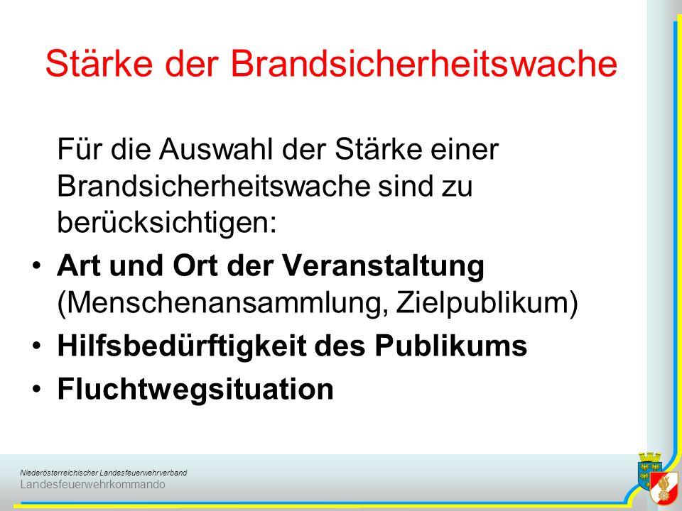 Niederösterreichischer Landesfeuerwehrverband Landesfeuerwehrkommando Stärke der Brandsicherheitswache Für die Auswahl der Stärke einer Brandsicherhei