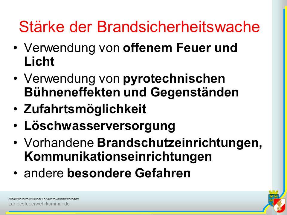 Niederösterreichischer Landesfeuerwehrverband Landesfeuerwehrkommando Stärke der Brandsicherheitswache Verwendung von offenem Feuer und Licht Verwendu