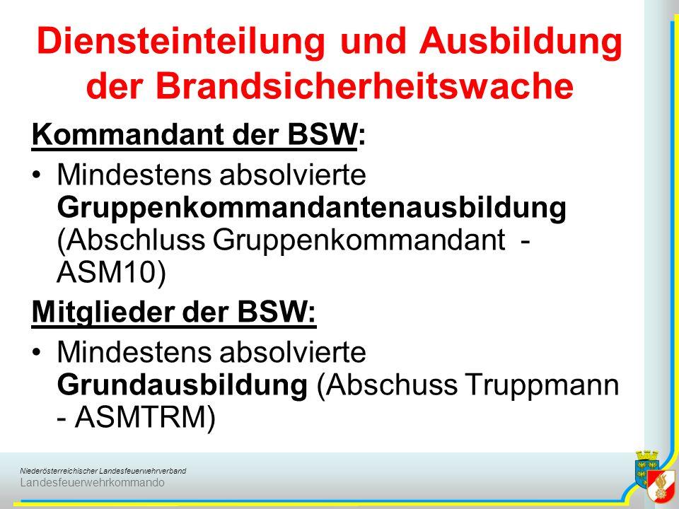 Niederösterreichischer Landesfeuerwehrverband Landesfeuerwehrkommando Diensteinteilung und Ausbildung der Brandsicherheitswache Kommandant der BSW: Mindestens absolvierte Gruppenkommandantenausbildung (Abschluss Gruppenkommandant - ASM10) Mitglieder der BSW: Mindestens absolvierte Grundausbildung (Abschuss Truppmann - ASMTRM)