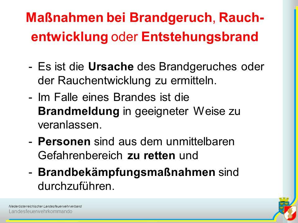 Niederösterreichischer Landesfeuerwehrverband Landesfeuerwehrkommando Maßnahmen bei Brandgeruch, Rauch- entwicklung oder Entstehungsbrand -Es ist die Ursache des Brandgeruches oder der Rauchentwicklung zu ermitteln.