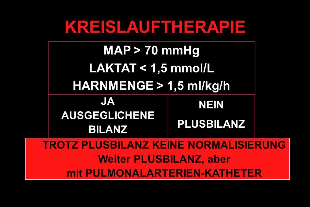 KREISLAUFTHERAPIE MAP > 70 mmHg LAKTAT < 1,5 mmol/L HARNMENGE > 1,5 ml/kg/h JA AUSGEGLICHENE BILANZ NEIN PLUSBILANZ TROTZ PLUSBILANZ KEINE NORMALISIER