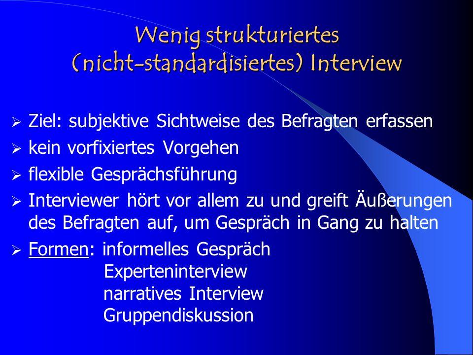 Wenig strukturiertes (nicht-standardisiertes) Interview Ziel: subjektive Sichtweise des Befragten erfassen kein vorfixiertes Vorgehen flexible Gespräc