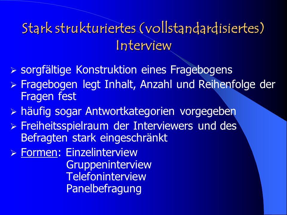 Stark strukturiertes (vollstandardisiertes) Interview sorgfältige Konstruktion eines Fragebogens Fragebogen legt Inhalt, Anzahl und Reihenfolge der Fr