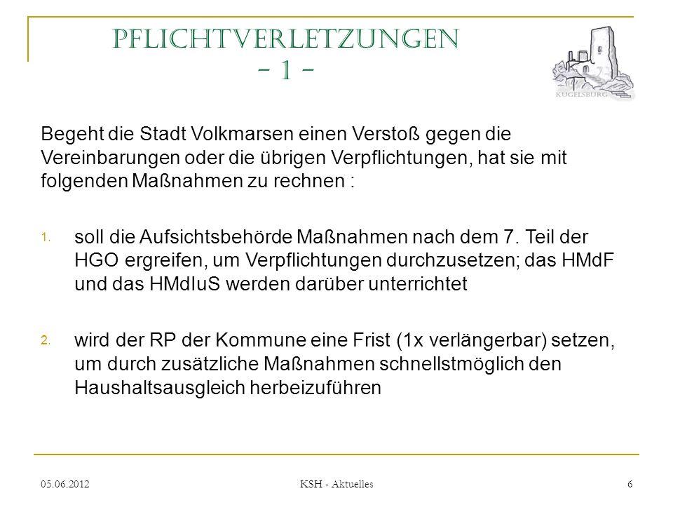 05.06.2012 KSH - Aktuelles 6 Pflichtverletzungen - 1 - Begeht die Stadt Volkmarsen einen Verstoß gegen die Vereinbarungen oder die übrigen Verpflichtungen, hat sie mit folgenden Maßnahmen zu rechnen : 1.