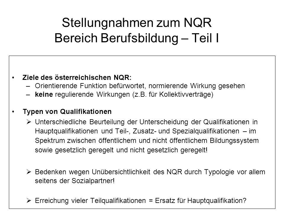 Stellungnahmen zum NQR Bereich Berufsbildung – Teil II Lernergebnisorientierung – Kernstück des NQR –Zustimmung zu Lernergebnisorientierung –Lernergebnisse = Ersatz für derzeitige Lehrpläne.