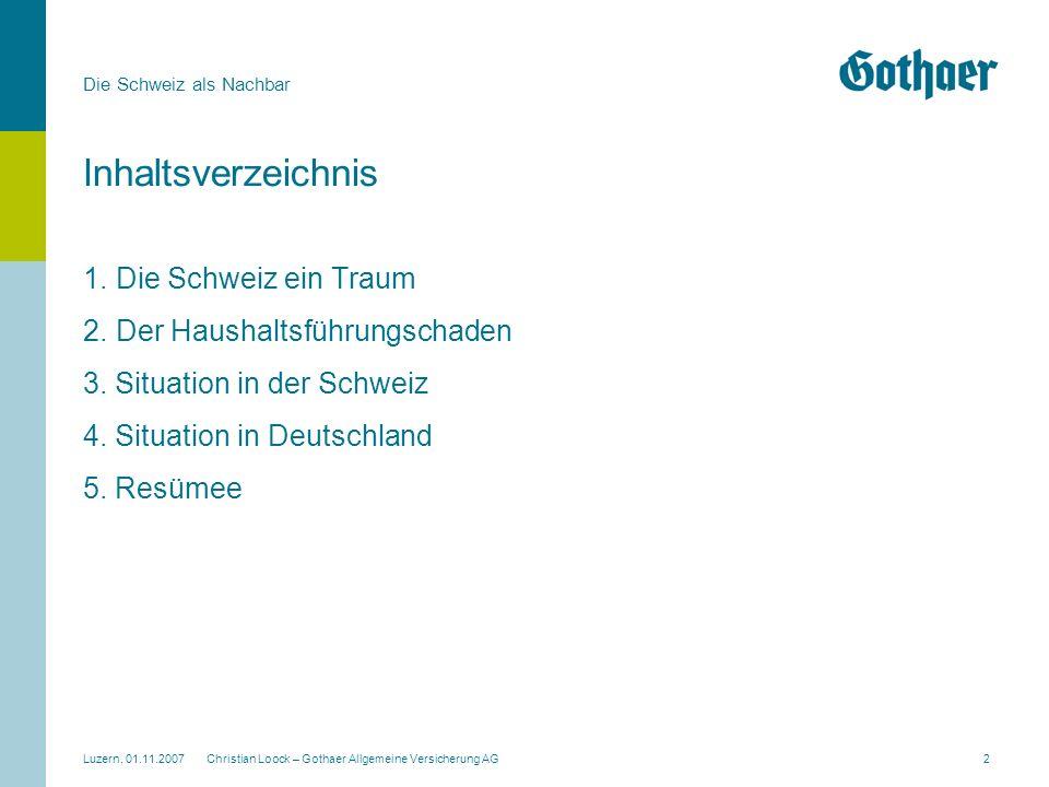 Die Schweiz als Nachbar Luzern, 01.11.2007 Christian Loock – Gothaer Allgemeine Versicherung AG2 Inhaltsverzeichnis 1.Die Schweiz ein Traum 2.Der Haus
