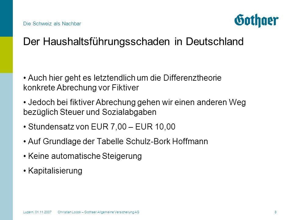 Die Schweiz als Nachbar Luzern, 01.11.2007 Christian Loock – Gothaer Allgemeine Versicherung AG8 Der Haushaltsführungsschaden in Deutschland Auch hier