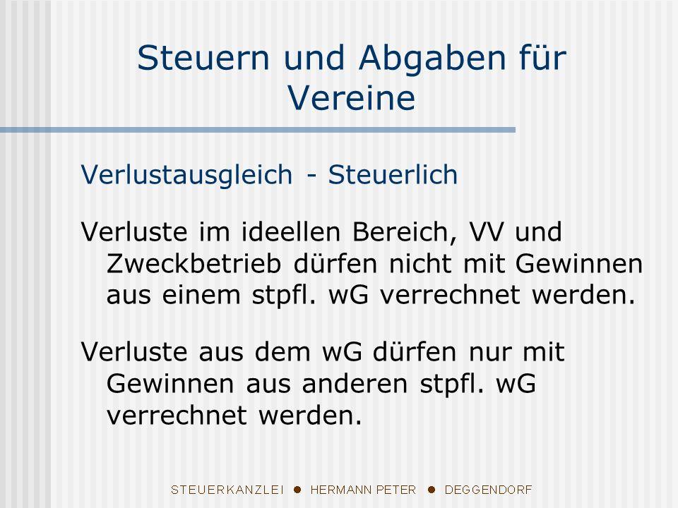 Verlustausgleich - Steuerlich Verluste im ideellen Bereich, VV und Zweckbetrieb dürfen nicht mit Gewinnen aus einem stpfl. wG verrechnet werden. Verlu