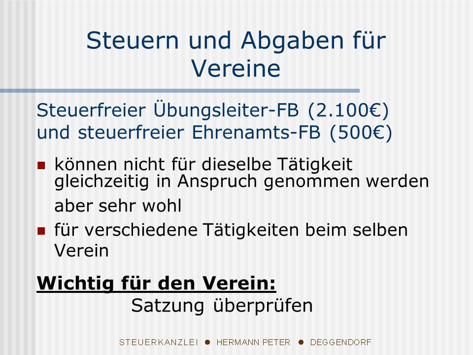 Steuerfreier Übungsleiter-FB (2.100) und steuerfreier Ehrenamts-FB (500) können nicht für dieselbe Tätigkeit gleichzeitig in Anspruch genommen werden