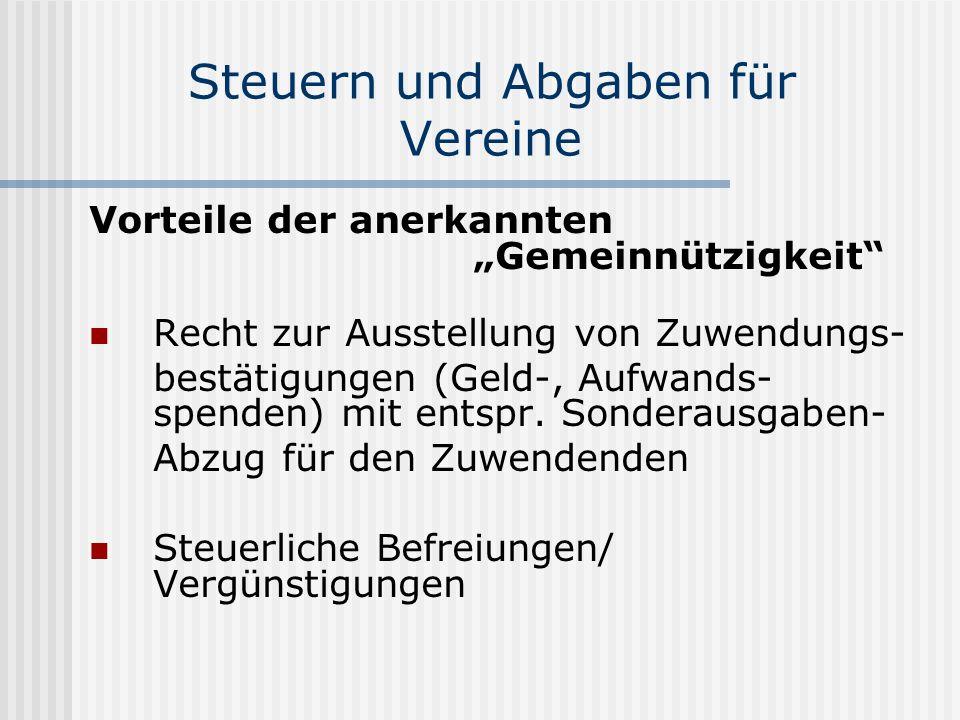 Vorteile der anerkannten Gemeinnützigkeit Recht zur Ausstellung von Zuwendungs- bestätigungen (Geld-, Aufwands- spenden) mit entspr. Sonderausgaben- A