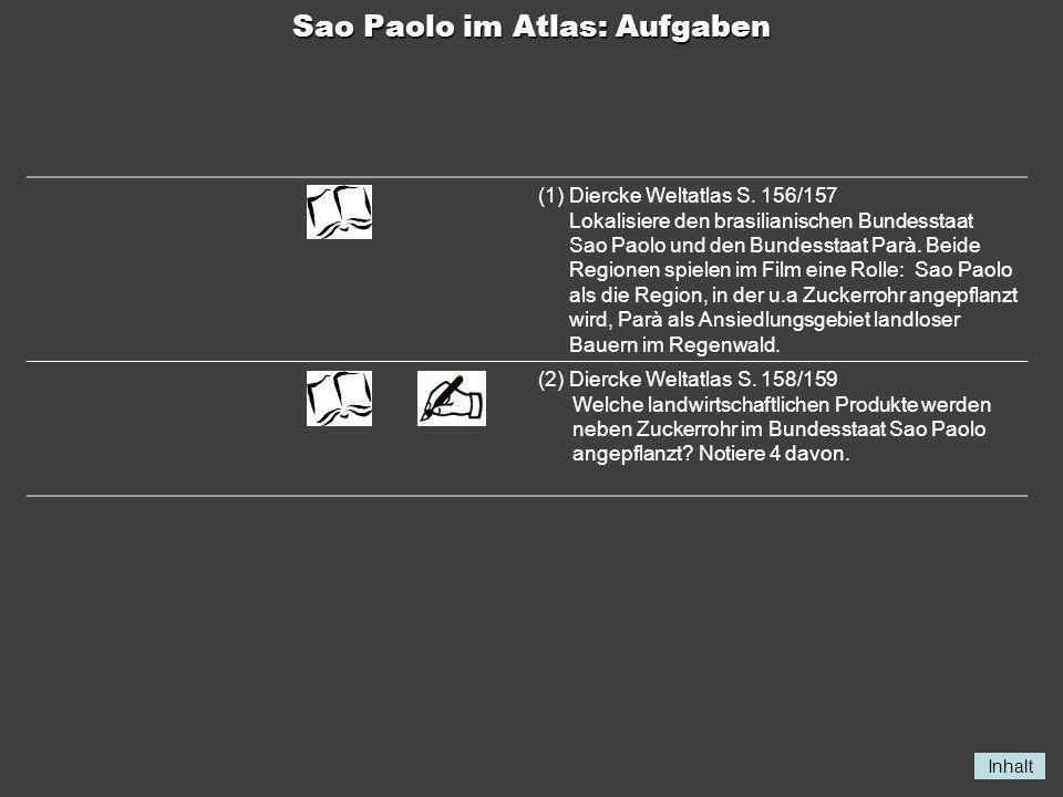 Inhalt Sao Paolo im Atlas: Aufgaben (1)Diercke Weltatlas S. 156/157 Lokalisiere den brasilianischen Bundesstaat Sao Paolo und den Bundesstaat Parà. Be