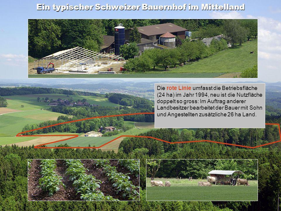 Inhalt Ein typischer Schweizer Bauernhof im Mittelland Die rote Linie umfasst die Betriebsfläche (24 ha) im Jahr 1994, neu ist die Nutzfläche doppelt