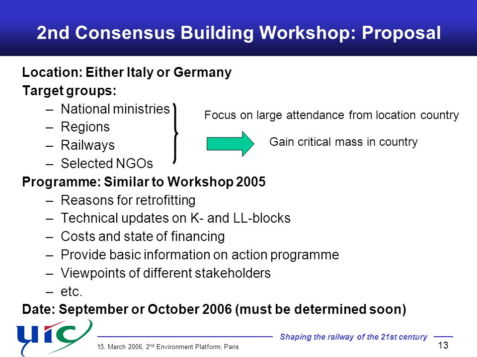 Shaping the railway of the 21st century 15. March 2006, 2 nd Environment Platform, Paris 13 Location: Either Italy or Germany Target groups: –National