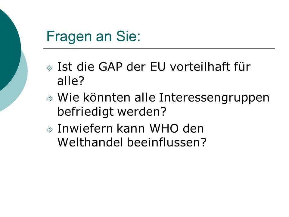 Fragen an Sie: Ist die GAP der EU vorteilhaft für alle? Wie könnten alle Interessengruppen befriedigt werden? Inwiefern kann WHO den Welthandel beeinf