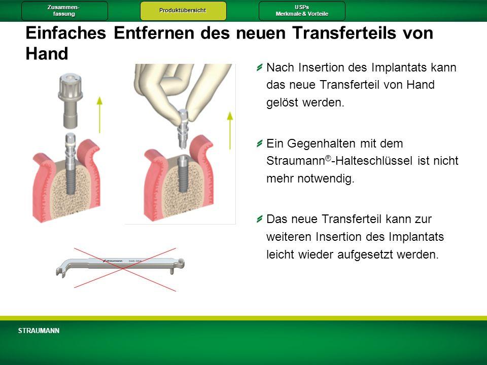 Zusammen-fassungProduktübersichtUSPs Merkmale & Vorteile STRAUMANN Einfaches Entfernen des neuen Transferteils von Hand Nach Insertion des Implantats