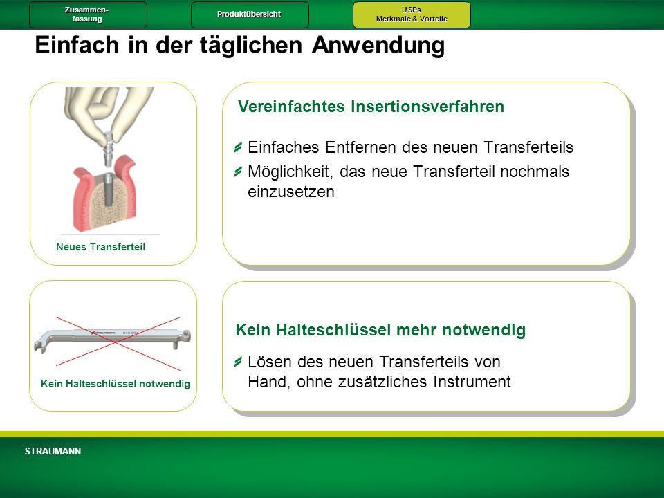 Zusammen-fassungProduktübersichtUSPs Merkmale & Vorteile STRAUMANN Einfach in der täglichen Anwendung Vereinfachtes Insertionsverfahren Kein Halteschl