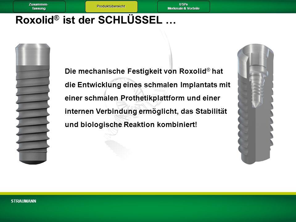 Zusammen-fassungProduktübersichtUSPs Merkmale & Vorteile STRAUMANN Roxolid ® ist der SCHLÜSSEL … Die mechanische Festigkeit von Roxolid ® hat die Entw