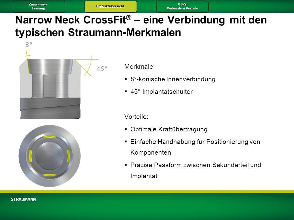 Zusammen-fassungProduktübersichtUSPs Merkmale & Vorteile STRAUMANN Narrow Neck CrossFit ® – eine Verbindung mit den typischen Straumann-Merkmalen Merk