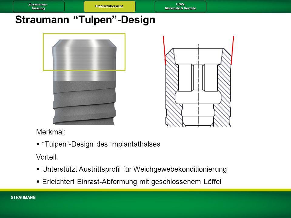 Zusammen-fassungProduktübersichtUSPs Merkmale & Vorteile STRAUMANN Straumann Tulpen-Design Merkmal: Tulpen-Design des Implantathalses Vorteil: Unterst