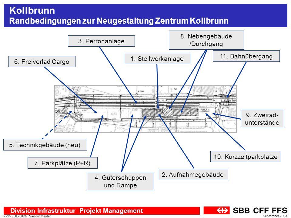 Division Infrastruktur Projekt Management I-PM-ZUE-LK/W, Sandor Mester September 2003 Kollbrunn Randbedingungen zur Neugestaltung Zentrum Kollbrunn 1.Stellwerkanlage Die Stellwerkanlage in Kollbrunn wird zusammen mit den weiteren Tösstalbahnhöfen im Projekt Stellwerkersatz und Automatisierung der Tösstallinie ersetzt.