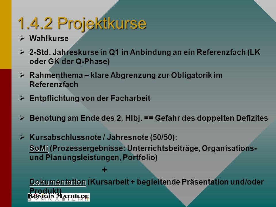 1.4.2 Projektkurse Benotung am Ende des 2. Hlbj. == Gefahr des doppelten Defizites 2-Std.