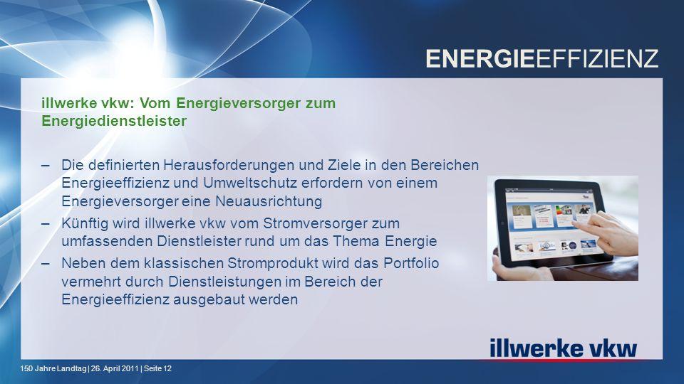 150 Jahre Landtag | 26. April 2011 | Seite 12 ENERGIEEFFIZIENZ illwerke vkw: Vom Energieversorger zum Energiedienstleister –Die definierten Herausford