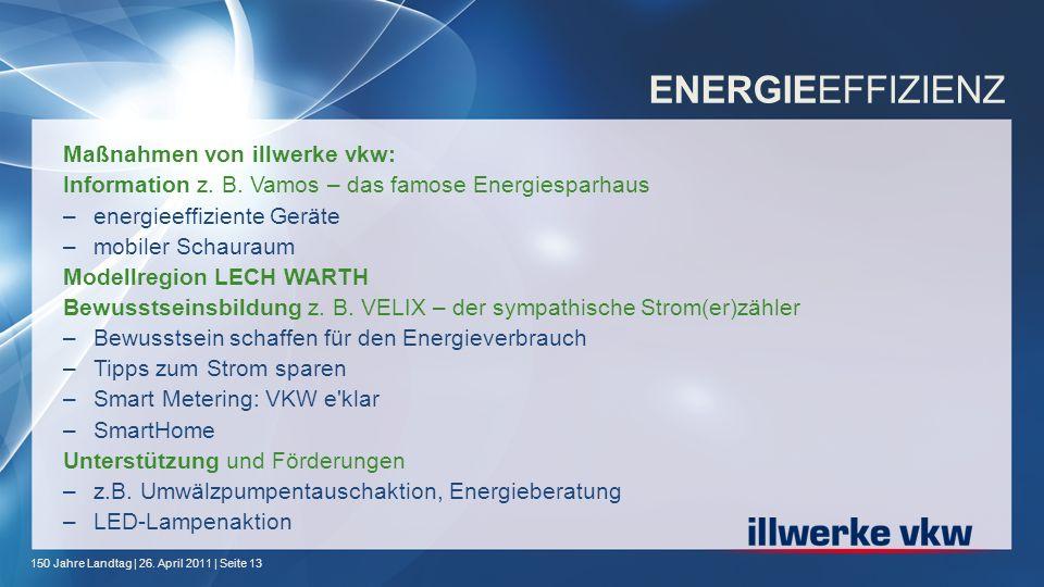 150 Jahre Landtag | 26. April 2011 | Seite 13 ENERGIEEFFIZIENZ Maßnahmen von illwerke vkw: Information z. B. Vamos – das famose Energiesparhaus –energ