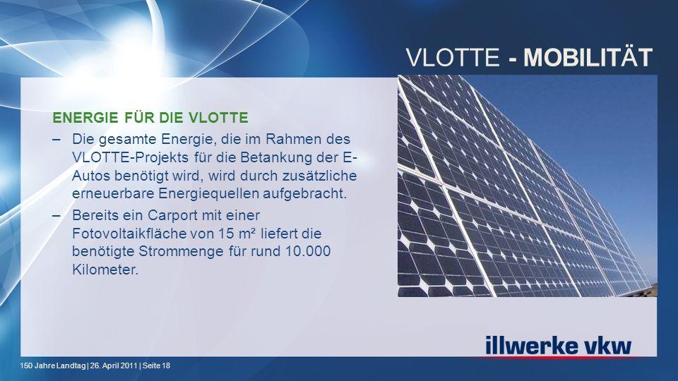 150 Jahre Landtag | 26. April 2011 | Seite 18 VLOTTE - MOBILIT Ä T ENERGIE FÜR DIE VLOTTE –Die gesamte Energie, die im Rahmen des VLOTTE-Projekts für