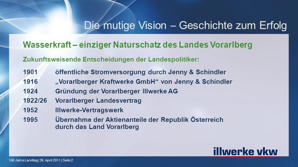 150 Jahre Landtag | 26. April 2011 | Seite 2 Die mutige Vision – Geschichte zum Erfolg Wasserkraft – einziger Naturschatz des Landes Vorarlberg Zukunf