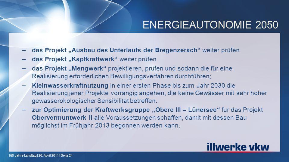 150 Jahre Landtag | 26. April 2011 | Seite 24 ENERGIEAUTONOMIE 2050 –das Projekt Ausbau des Unterlaufs der Bregenzerach weiter prüfen –das Projekt Kap