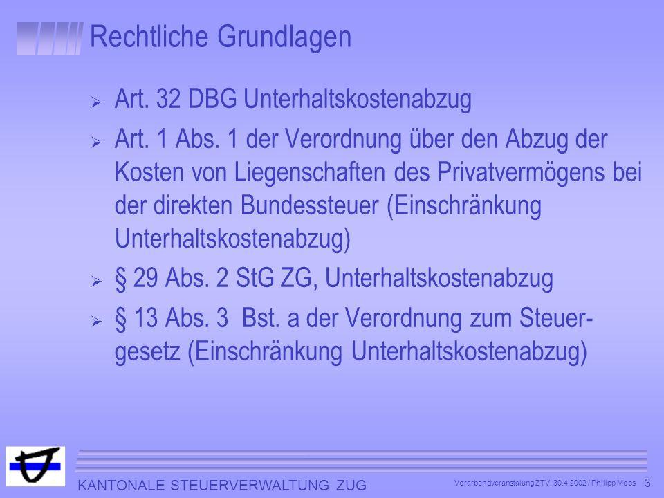 KANTONALE STEUERVERWALTUNG ZUG 3 Vorarbendveranstalung ZTV, 30.4.2002 / Philipp Moos Rechtliche Grundlagen Art. 32 DBG Unterhaltskostenabzug Art. 1 Ab