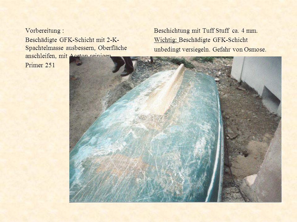 Vorbereitung : Beschädigte GFK-Schicht mit 2-K- Spachtelmasse ausbessern, Oberfläche anschleifen, mit Aceton reinigen. Primer 251 Beschichtung mit Tuf