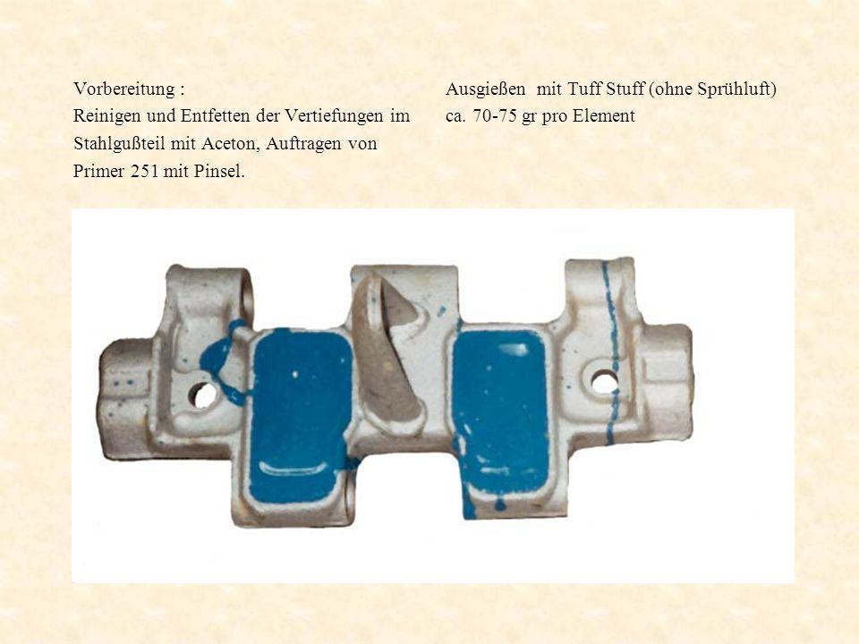 Vorbereitung : Reinigen und Entfetten der Vertiefungen im Stahlgußteil mit Aceton, Auftragen von Primer 251 mit Pinsel. Ausgießen mit Tuff Stuff (ohne