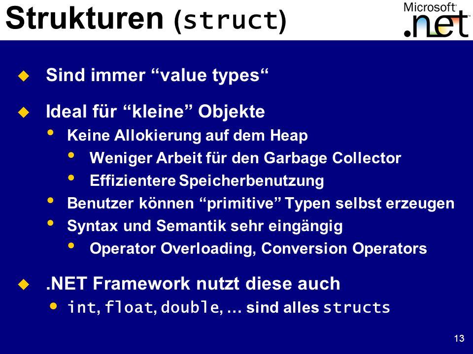 13 Strukturen ( struct ) Sind immer value types Ideal für kleine Objekte Keine Allokierung auf dem Heap Weniger Arbeit für den Garbage Collector Effiz