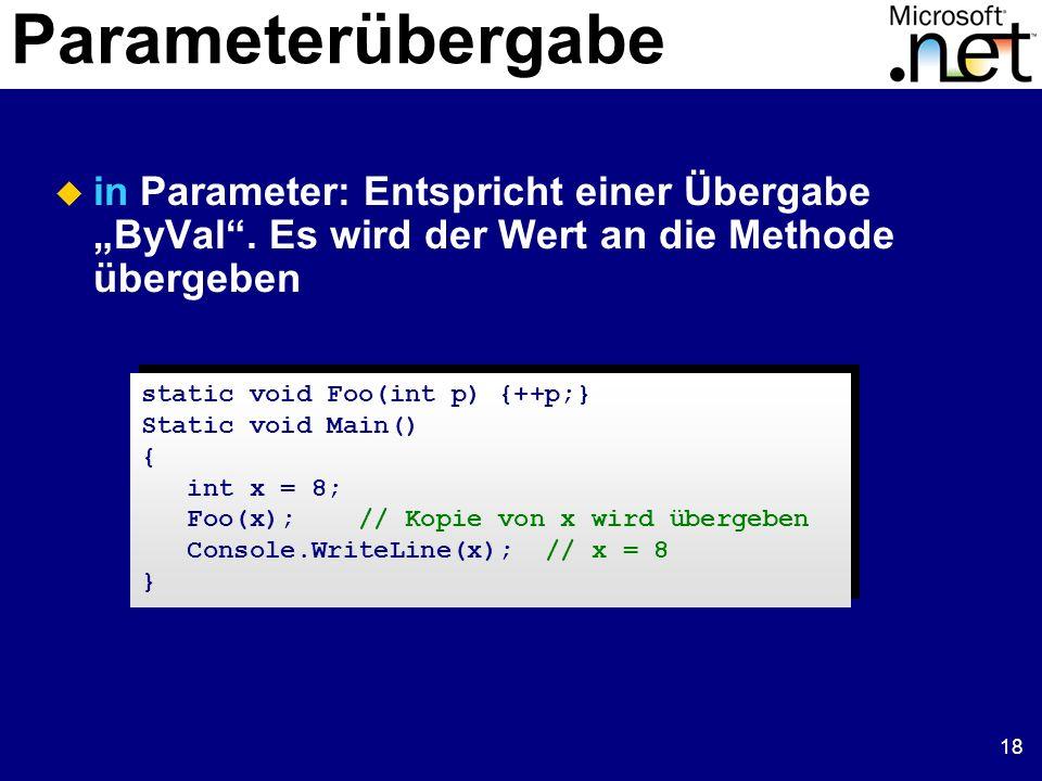 18 Parameterübergabe in Parameter: Entspricht einer Übergabe ByVal. Es wird der Wert an die Methode übergeben static void Foo(int p) {++p;} Static voi