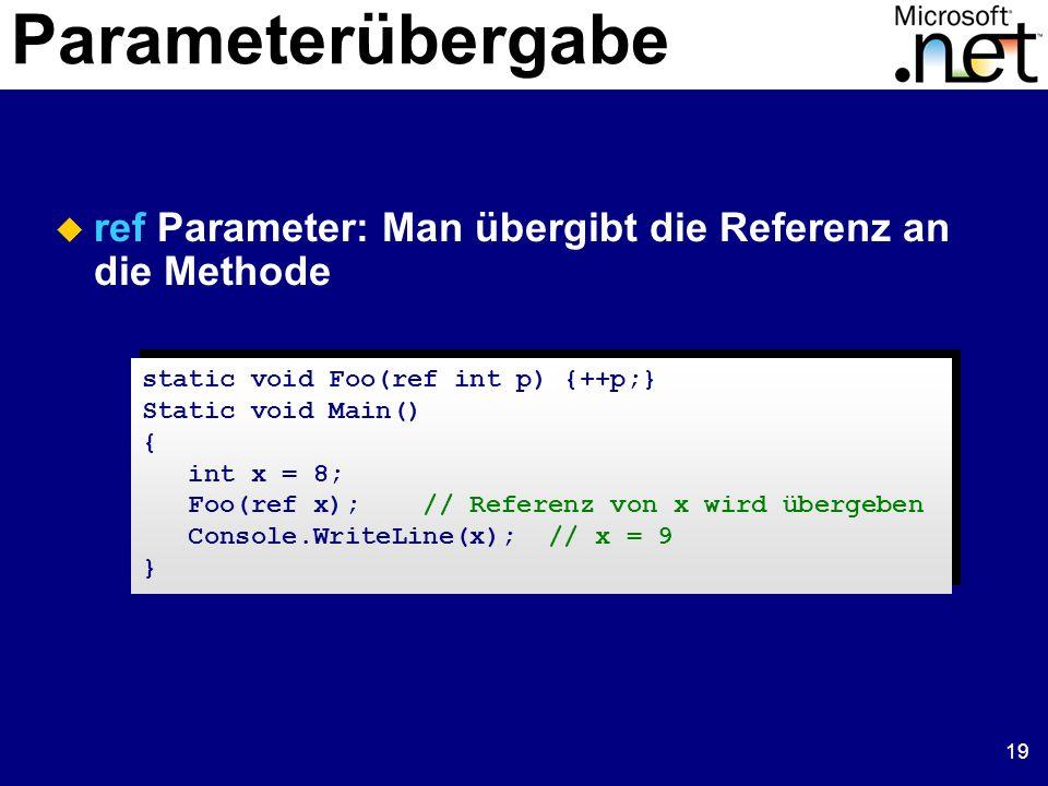 19 Parameterübergabe ref Parameter: Man übergibt die Referenz an die Methode static void Foo(ref int p) {++p;} Static void Main() { int x = 8; Foo(ref