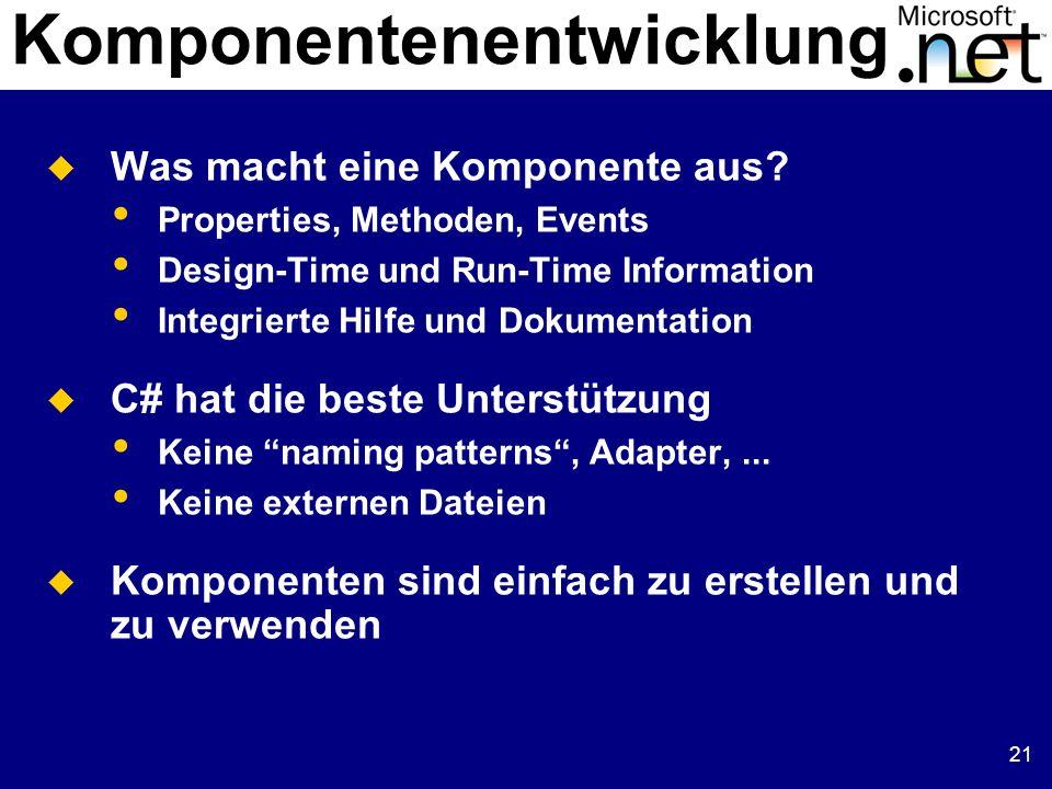 21 Komponentenentwicklung Was macht eine Komponente aus? Properties, Methoden, Events Design-Time und Run-Time Information Integrierte Hilfe und Dokum