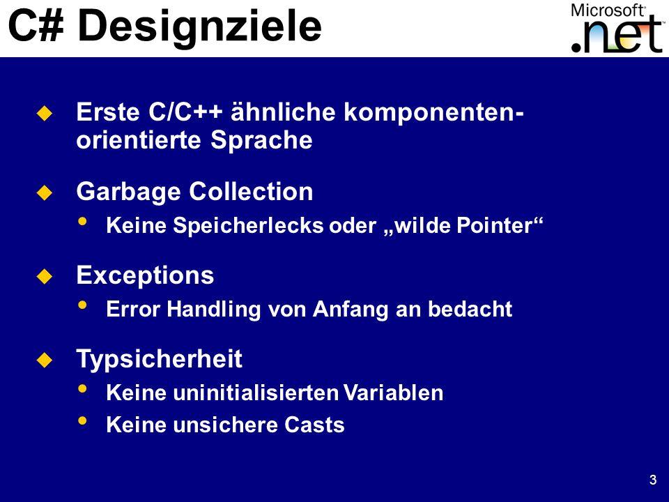 3 C# Designziele Erste C/C++ ähnliche komponenten- orientierte Sprache Garbage Collection Keine Speicherlecks oder wilde Pointer Exceptions Error Hand