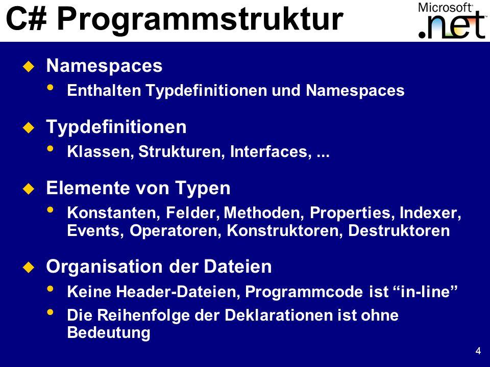 4 C# Programmstruktur Namespaces Enthalten Typdefinitionen und Namespaces Typdefinitionen Klassen, Strukturen, Interfaces,... Elemente von Typen Konst