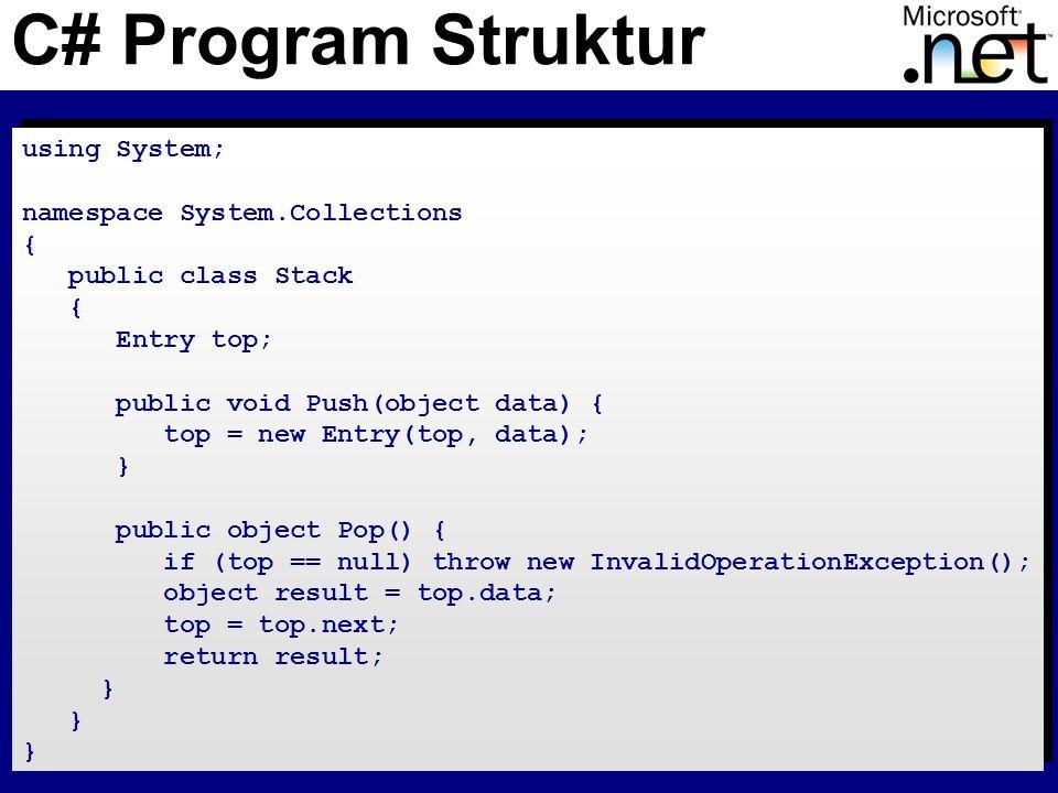 16 Vererbung Methoden sind standardmäßig NICHT virtual Eine Methode kann nur mit override überschrieben werden class B { public virtual void foo() {} } class D : B { public override void foo() {} } class B { public virtual void foo() {} } class D : B { public override void foo() {} }